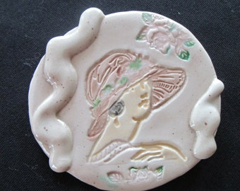 Ceramic Cameo Brooch, beige with pink accents, 2.5""
