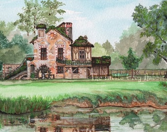 Watercolor Print, Cottage, Landscape, Watermill, France, Versailles, Red, Green