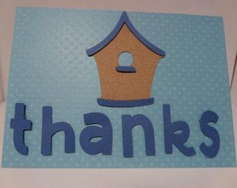 Handmade Thank You Card with Birdhouse