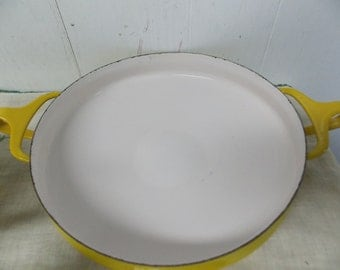 Vintage Dansk Designs France IHQ Yellow Enamelware Paella Pan