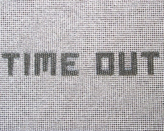 Welcome or Time Out locker hooking stenciled rug backing