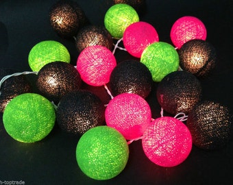 Black-Green-Pink Cotton Balls String Lights Fairy Home Decor Party