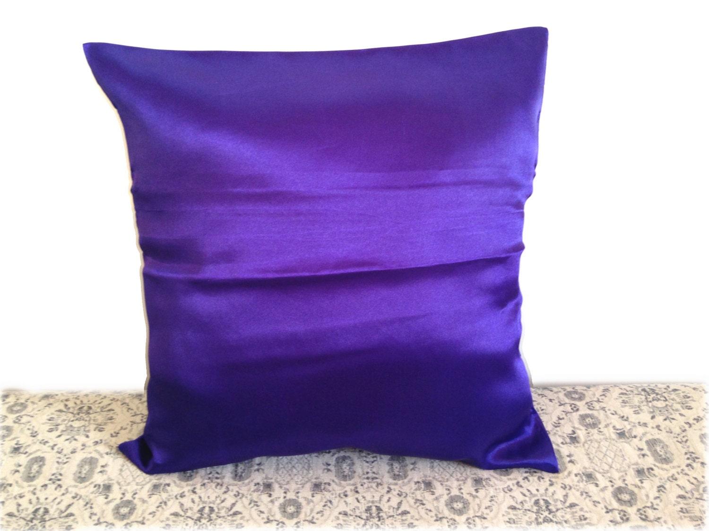 Royal Blue Satin Throw Pillow Covers Set of 2