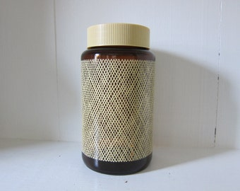 Vintage Borden Cremora Brown Amber Glass Burlap Pattern Storage Jar with Lid