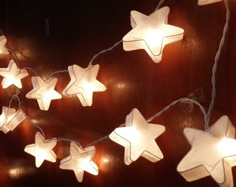 white star string lights 20 party patio fairy decor wedding mulberry paper kid room bed room