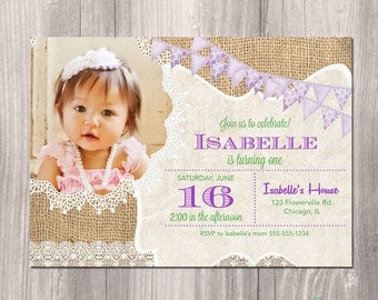 Girl Birthday Invitation, Purple, Burlap Birthday Invitation, Lavender, Shabby Chic, First Birthday Invitation, Printable Invitation