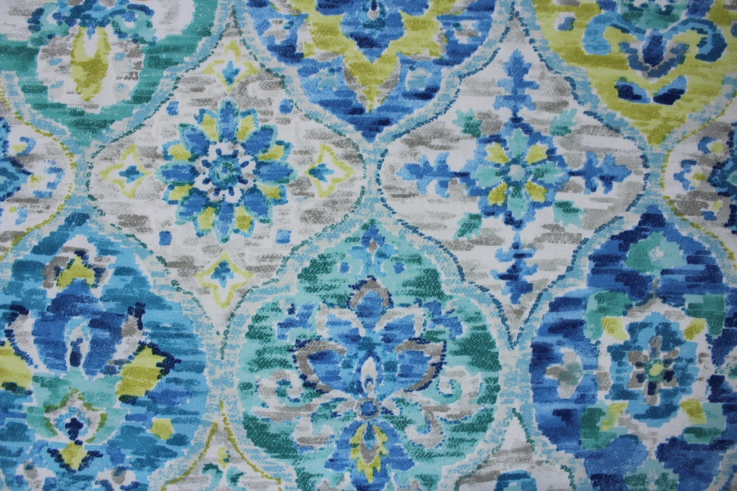 blue green yellow grey ikat fabric by the yard 052. Black Bedroom Furniture Sets. Home Design Ideas