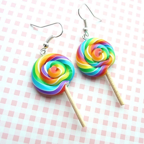 Kawai cute lollipop earrings made with polymer clay