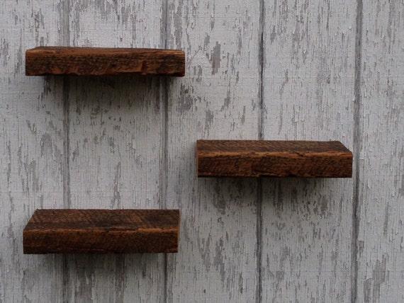 Floating barn wood shelves