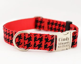 Dog Collar with Personalized Buckle,Red Hound-tooth,Fabric 208