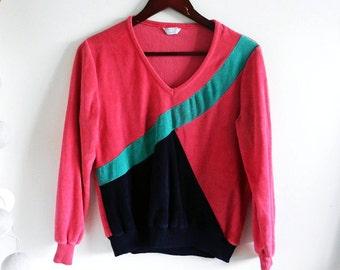 Vintage 80s Pink Navy Velvet Sweater / Colorful Bright Jumper / Women's Long Sleeve Pullover Jumper / Size S / M