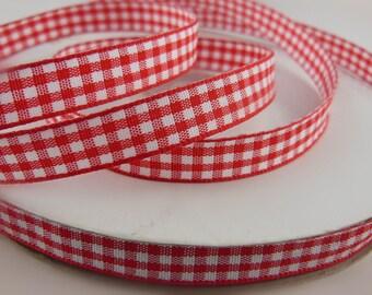 Red Plaid Ribbon 3/8'' 33COLORS