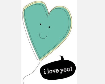 "Poster download ""I love you"" green illustration love heart decoration home decor nursery cute in love heart"