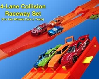 4-Lane Collision Raceway Set (For Hot Wheels Cars & Track) Start Gate + Clamp + 2 Lane Mergers