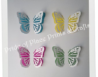 3D Butterfly artwork - choice of frames and background colours