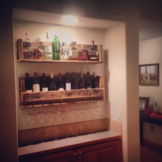 8 Diy Kitchen Decor Ideas Do It Yourself As Expert: RUSTIC Wine Rack Liquor Shelf W/glass Holder