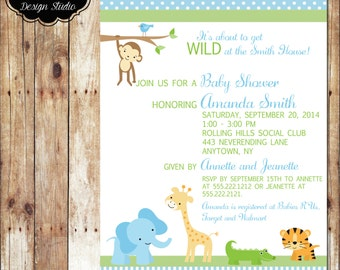Customized Baby Shower Invitation - Digital File or Printed - Jungle Baby Animals for Boy or Girl