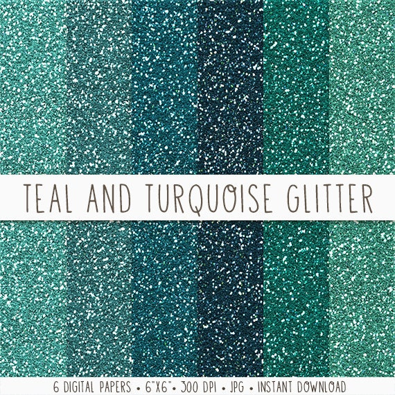 The Texture Of Teal And Turquoise: Turquoise Glitter Digital Paper Teal Glitter Paper Texture