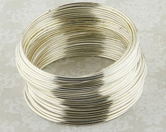 Steel Memory Wire, Silver Color 50 Loops, Large Wrists