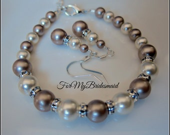 Bridesmaid Pearl Jewelry Set Bridal Party Gift Bracelet Earrings Wedding Adjustable Bracelet Swarovski Ivory Light Champagne  pearls