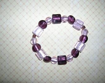 Purple and lavender stretch bracelet