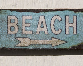 Miniature Dollhouse Vintage Inspired Tin Sign - Beach