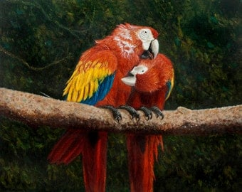 Macaw Parrot Painting,Impressionist art