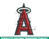 baseball machine Embroidery Designs (anaheim angels) 4x4 - Instant Download