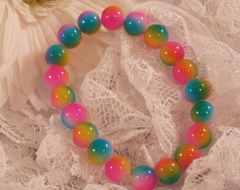 Girl's Neon Beaded stretch Bracelet