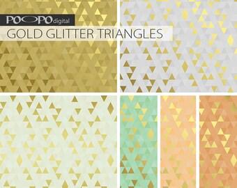 Gold glitter triangles digital paper, pastel wedding, mint and gold, coral, peach, triangle geometric, triangles paper, gold foil, metallic