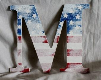 American Flag Name Letter (Antiqued)