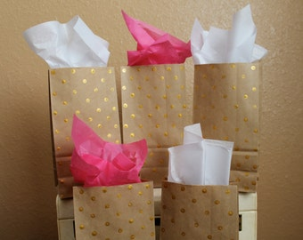 Gift Bags - set of 5 hand painted gold polka dot paper goodie bags - Christmas holiday gift wrap