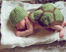 newborn crochet turtle photo prop,baby turtle prop, baby turtle set, crochet baby turtle