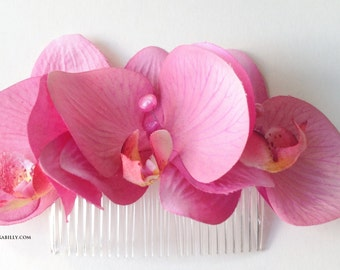 Rockabilly Pin Up Pink  Triple Orchid hair Flower Fascinator comb