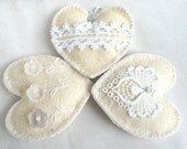 Felt heart ornament set of 3, button flowers lace White Shabby Chic Vintage Wedding Christmas ornament, Valentine's day Birthday home decor
