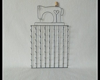 Sewing Machine Spool Holder ~  Gray Wire 11 x 20 Inches Overall ~ Holds 63 Spools of Thread ~ Made in the USA