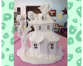 Ceramic Haunted House -  Ceramic Bisque House - Bisque Ceramic House -  Halloween House - Ready to paint ceramic house - Halloween House