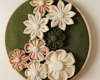 3D Wall Flowers, Home Decoration, Wall Hanging Decoration, Hoop Art, Embroidery hoop with Fabric Kanzashi Flowers, Floral Decor