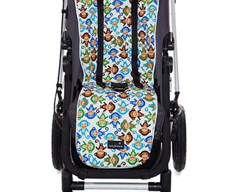 Buggy Liner | Universal Pram Liner | Blue Cheeky Monkeys | Bugaboo/iCandy/Baby Jogger and more