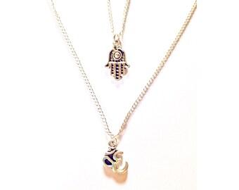 Hamsa & Om Meditation necklace