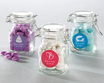 Apothecary Jar to Hold Favors -With Personalized Label - Set of 24 (e112-2608) - Free Personalization