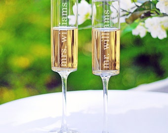 Contemporary Champagne Flutes - mr. and mrs. design (as shown), e101-1607