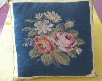 Vintage Needlepoint Pillow With Gold Metallic Ribbon and Gold Cording