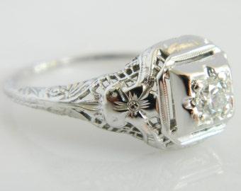 Beautiful Art Deco 18K White Gold Diamond Enagement Ring