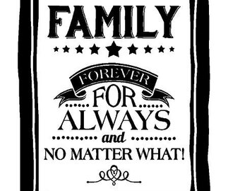 Family Forever For Always and No Matter What Decal