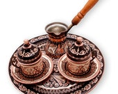Hand made Turkish Coffee maker, copper pot, coffee set, Turkish coffee, Beautiful Gifts for New Year.Mother,Grandmother,frıends,for you.