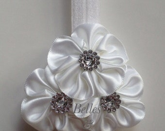 White - Baby Girl Headband, Satin Flower Cluster, Photo Prop, Christmas, Baptism, Wedding, Flower Girl, Birthday