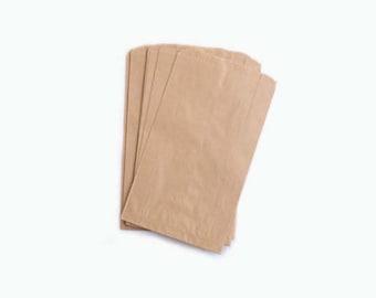 "100 pcs Small Paper Bags, Glassine Bags, White Paper Bags, Kraft Bag, Party Favor Bag, Wedding Favor , 3.75"" x 6.25"" Goodie Bags"