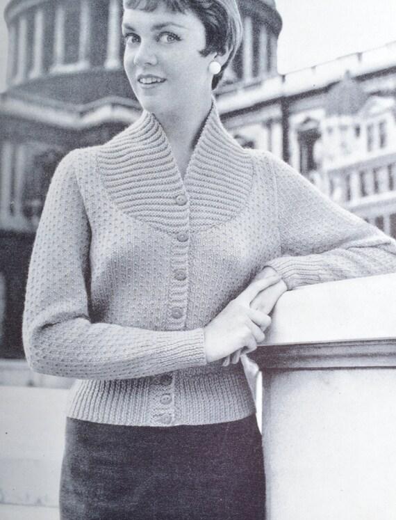 Vintage knitting pattern three cardigan jacket sweater from
