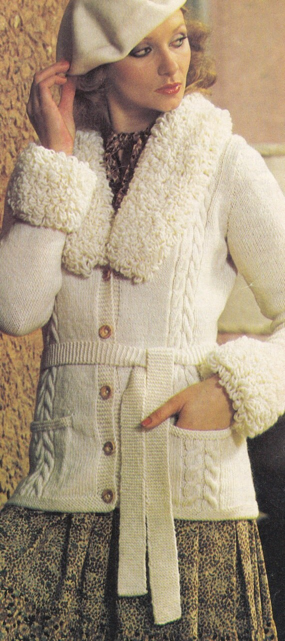 Loopy Cardigan Knitting Pattern : Pdf loopy cardigan cable vintage knitting pattern download